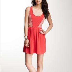 BB Dakota | Two Tone Cut Out Dress | Coral | 4